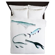 Battle of the Extinct Sea Monsters Queen Duvet