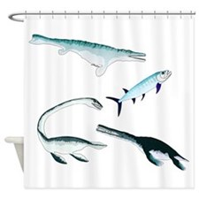 Battle of the Extinct Sea Monsters Shower Curtain