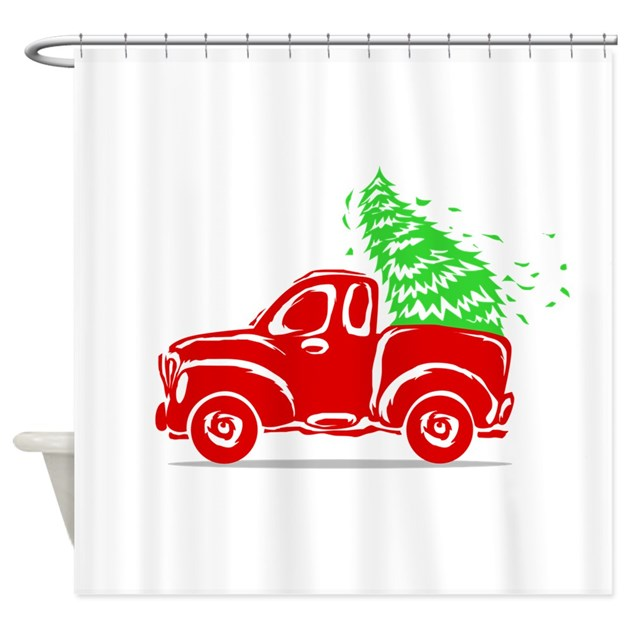 Vintage Red Truck Christmas Truck Shower Curtain By ADMIN