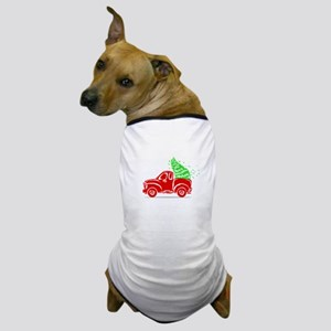 Vintage Red Truck Christmas Truck Dog T-Shirt