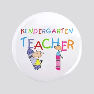 "Crayons Kindergarten Teacher 3.5"" Button"