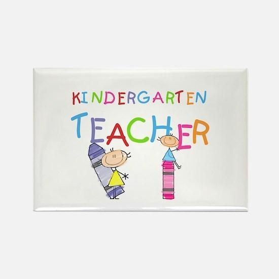 Crayons Kindergarten Teacher Rectangle Magnet