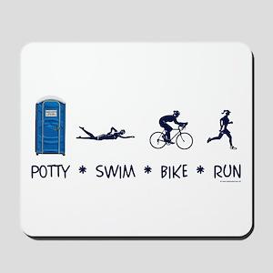 Women's Potty Swim Bike Run Mousepad