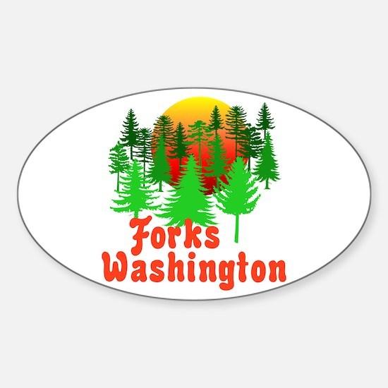 Forks Washington Twilight Oval Decal