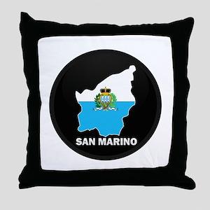 Flag Map of San Marino Throw Pillow