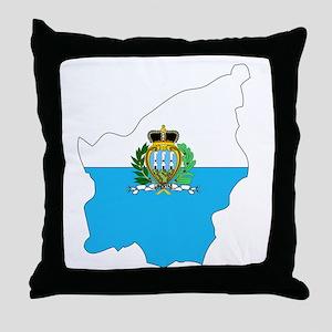 San Marino Flag Map Throw Pillow