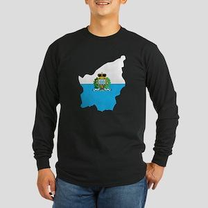 San Marino Flag Map Long Sleeve Dark T-Shirt