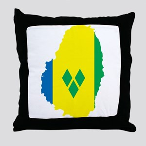 Saint Vincent Flag Map Throw Pillow