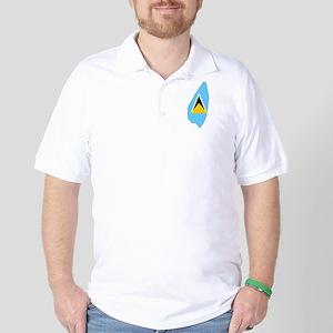 Saint Lucia Flag Map Golf Shirt