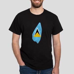 Saint Lucia Flag Map Dark T-Shirt