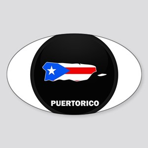 Flag Map of PUERTO RICO Oval Sticker