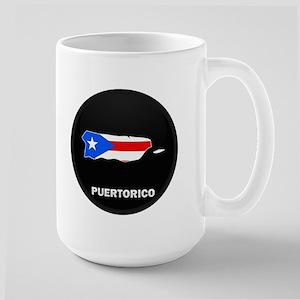 Flag Map of PUERTO RICO Large Mug