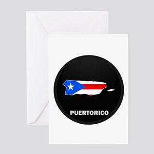 Flag Map of PUERTO RICO Greeting Card