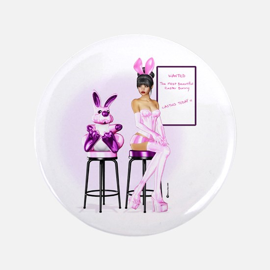 """Easter Bunny Casting 3.5"""" Button"""