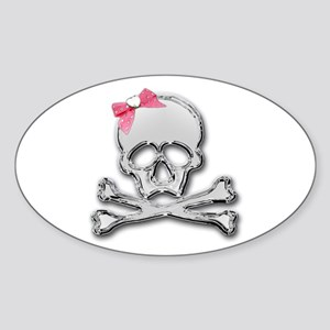 Chrome skull with bow Oval Sticker