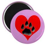 Cat Track Pawprint & Heart Magnet
