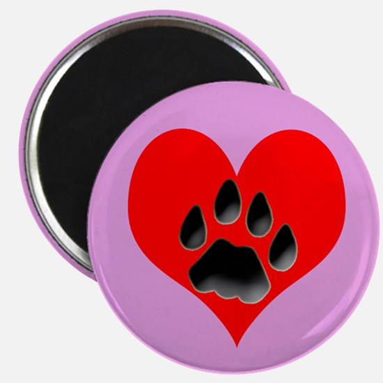 Cat Track Pawprint & Heart Magnet