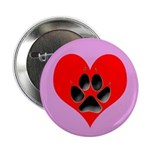 Dog Track Pawprint and Heart Button