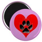 Dog Track Pawprint & Heart Magnet