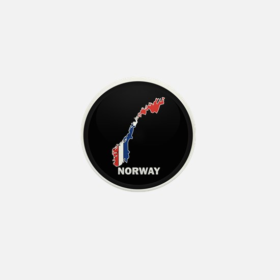 Flag Map of Norway Mini Button