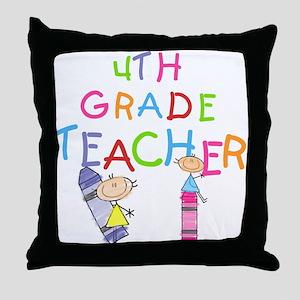 Crayons 4th Grade Throw Pillow