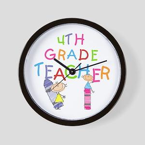Crayons 4th Grade Wall Clock
