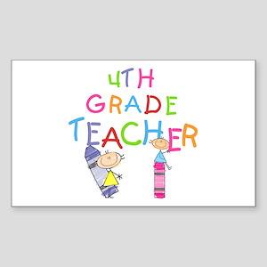 Crayons 4th Grade Rectangle Sticker