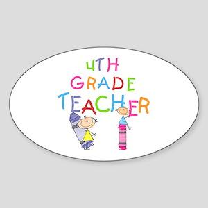 Crayons 4th Grade Oval Sticker