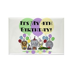 Zoo 4th Birthday Rectangle Magnet