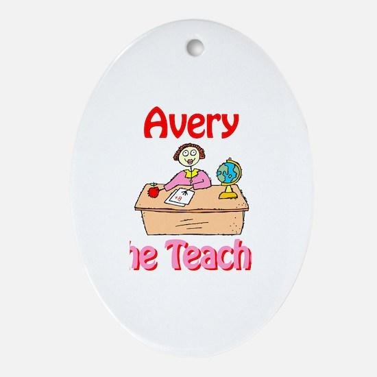 Avery the Teacher Oval Ornament