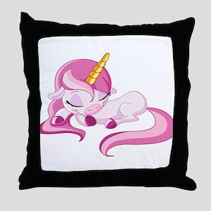 Sleeping Unicorn Throw Pillow