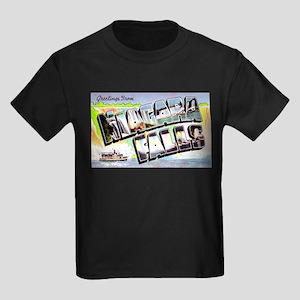 Niagara Falls Greetings (Front) Kids Dark T-Shirt