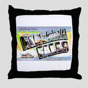 Niagara Falls Greetings Throw Pillow