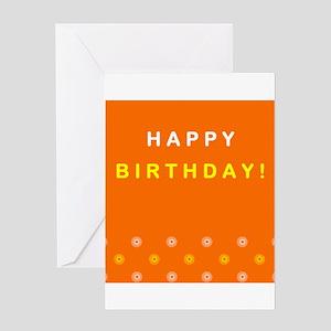 Happy Birthday Greeting Card (Orange)