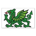 Midrealm green dragon vinyl Rectangle Sticker