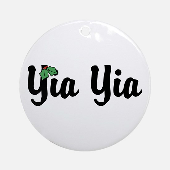 Yia Yia Holiday Holly Ornament (Round)