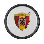 Spain Metallic Shield Large Wall Clock