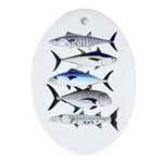 South Pacific Speedy Fishes Oval Ornament