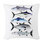 South Pacific Speedy Fishes Woven Throw Pillow
