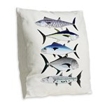 South Pacific Speedy Fishes Burlap Throw Pillow