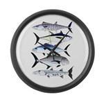 South Pacific Speedy Fishes Large Wall Clock