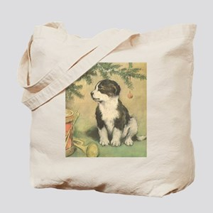 Vintage Christmas Cute Puppy Tote Bag