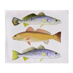 3 West Atlantic Ocean Drum Fishes Throw Blanket