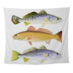 3 West Atlantic Ocean Drum Fishes Wall Tapestry