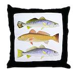3 West Atlantic Ocean Drum Fishes Throw Pillow