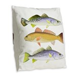 3 West Atlantic Ocean Drum Fishes Burlap Throw Pil