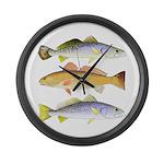 3 West Atlantic Ocean Drum Fishes Large Wall Clock