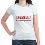 Autism Not Like U Think Jr. Ringer T-Shirt