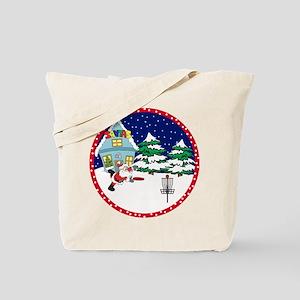 Santa Disc Golf Christmas Tote Bag