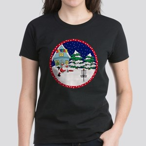Santa Disc Golf Christmas Women's Dark T-Shirt